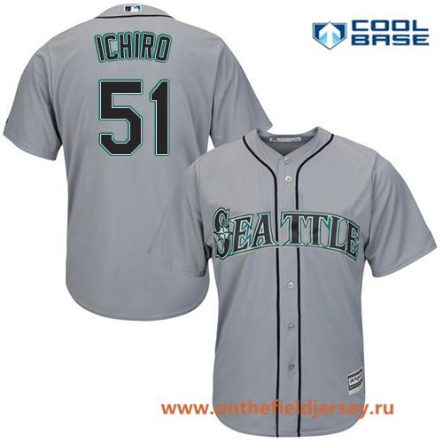 Men's Seattle Mariners #51 Ichiro Suzuki Gray Road Stitched MLB Majestic Cool Base Jersey