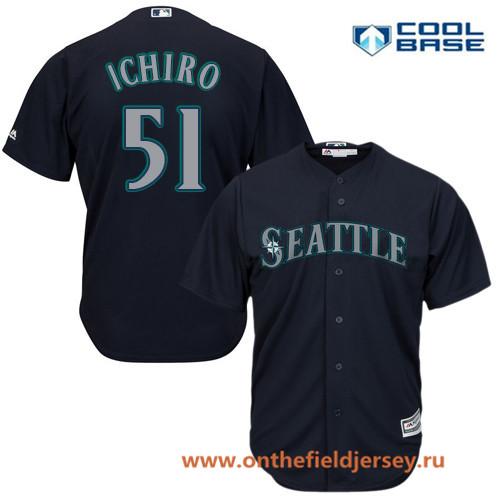 Men's Seattle Mariners #51 Ichiro Suzuki Navy Blue Alternate Stitched MLB Majestic Cool Base Jersey