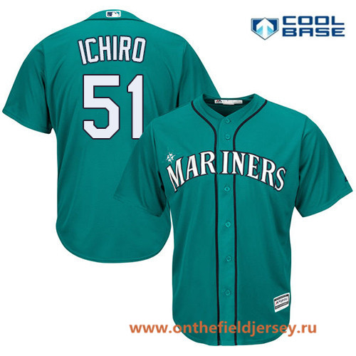 Men's Seattle Mariners #51 Ichiro Suzuki Teal Green Alternate Stitched MLB Majestic Cool Base Jersey