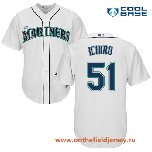 Men's Seattle Mariners #51 Ichiro Suzuki White Home Stitched MLB Majestic Cool Base Jersey