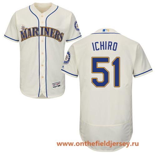 Men's Seattle Mariners #51 Ichiro Suzuki Cream Alternate Stitched MLB Majestic Flex Base Jersey