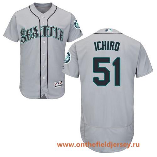 Men's Seattle Mariners #51 Ichiro Suzuki Gray Road Stitched MLB Majestic Flex Base Jersey