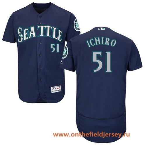 Men's Seattle Mariners #51 Ichiro Suzuki Navy Blue Alternate Stitched MLB Majestic Flex Base Jersey