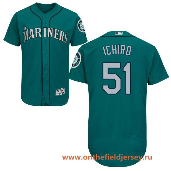 Men's Seattle Mariners #51 Ichiro Suzuki Teal Green Alternate Stitched MLB Majestic Flex Base Jersey