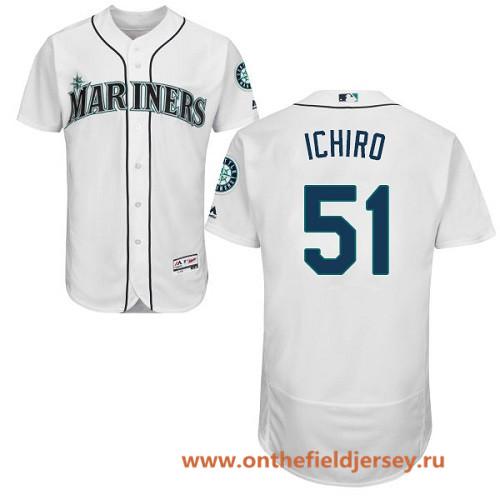 Men's Seattle Mariners #51 Ichiro Suzuki White Home Stitched MLB Majestic Flex Base Jersey