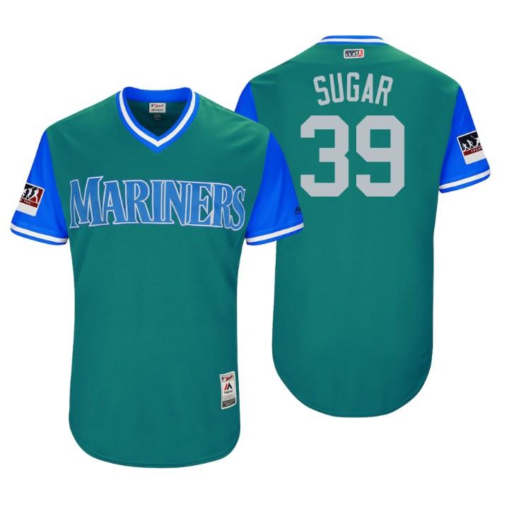 Men's Seattle Mariners Authentic Edwin Diaz #39 Aqua 2018 LLWS Players Weekend Sugar Jersey