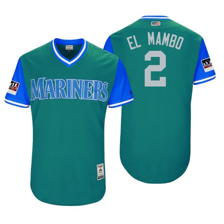 Men's Seattle Mariners Authentic Jean Segura #2 Aqua 2018 LLWS Players Weekend El Mambo Jersey