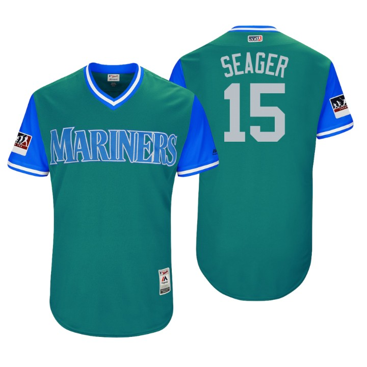 Men's Seattle Mariners Authentic Kyle Seager #15 Aqua 2018 LLWS Players Weekend Seager Jersey