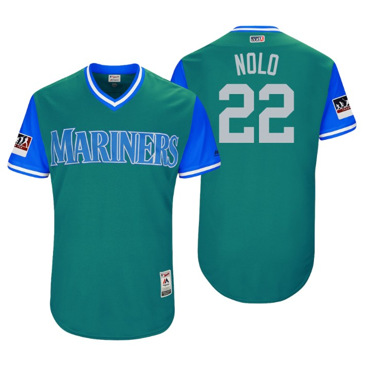 Men's Seattle Mariners Authentic Robinson Cano #22 Aqua 2018 LLWS Players Weekend Nolo Jersey