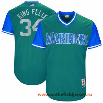 Men's Seattle Mariners Felix Hernandez -King Felix- Majestic Aqua 2017 Little League World Series Players Weekend Stitched Nickname Jersey