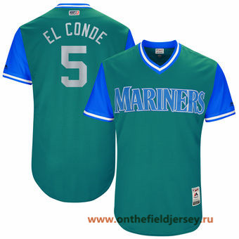 Men's Seattle Mariners Guillermo Heredia -El Conde- Majestic Aqua 2017 Little League World Series Players Weekend Stitched Nickname Jersey