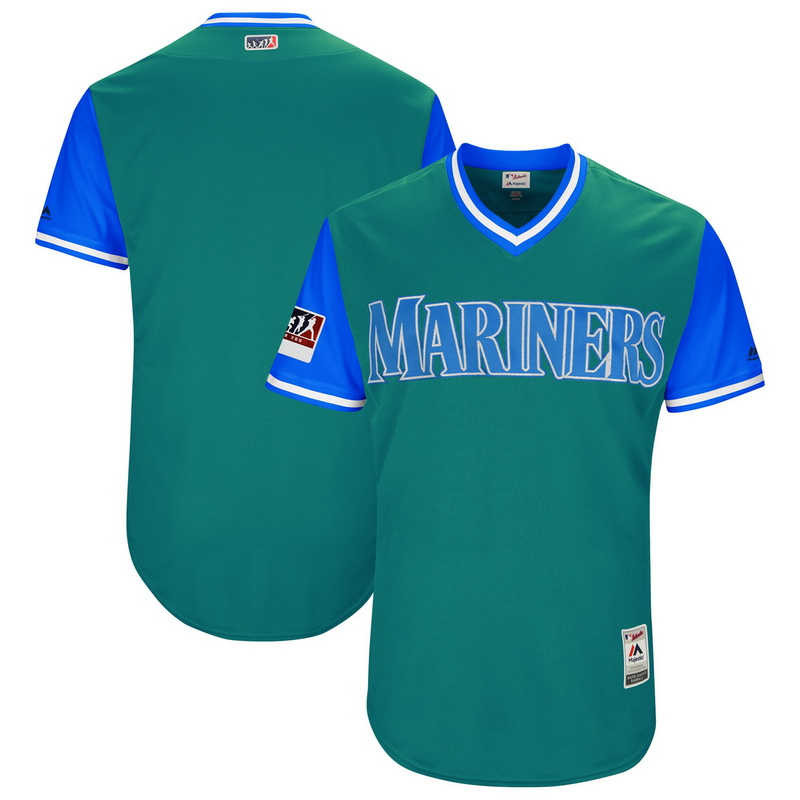 Men's Seattle Mariners Majestic Aqua-Light Blue 2018 Players' Weekend Authentic Team Jersey