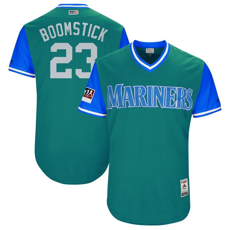 Men's Seattle Mariners Nelson Cruz Boomstick Majestic Aqua-Light Blue 2018 Players' Weekend Authentic Jersey
