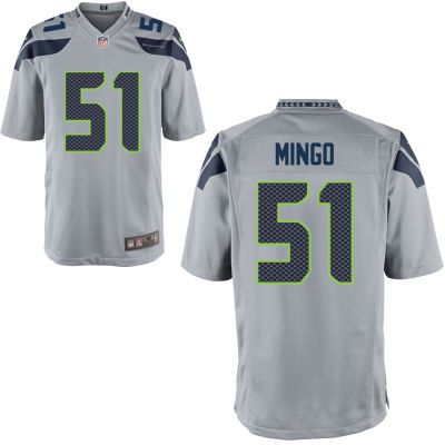 Men's Seattle Seahawks #51 Barkevious Mingo Gray Alternate Stitched NFL Nike Game Jersey