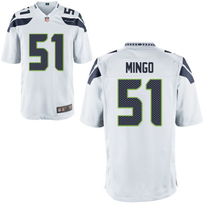 Men's Seattle Seahawks #51 Barkevious Mingo White Road Stitched NFL Nike Game Jersey