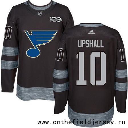 Men's St. Louis Blues #10 Scottie Upshall Black 100th Anniversary Stitched NHL 2017 adidas Hockey Jersey