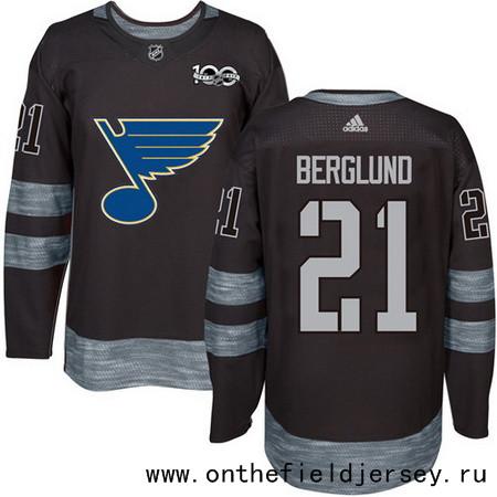 Men's St. Louis Blues #21 Patrik Berglund Black 100th Anniversary Stitched NHL 2017 adidas Hockey Jersey