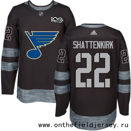 Men's St. Louis Blues #22 Kevin Shattenkirk Black 100th Anniversary Stitched NHL 2017 adidas Hockey Jersey