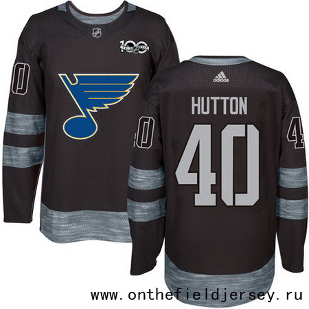 Men's St. Louis Blues #40 Carter Hutton Black 100th Anniversary Stitched NHL 2017 adidas Hockey Jersey