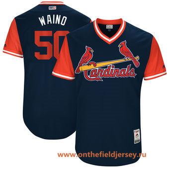 Men's St. Louis Cardinals Adam Wainwright -Waino- Majestic Navy 2017 Little League World Series Players Weekend Stitched Nickname Jersey