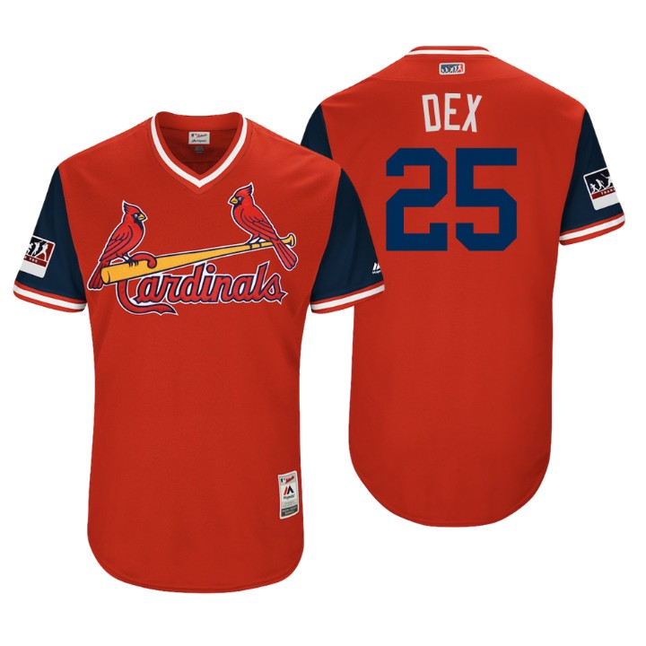 Men's St. Louis Cardinals Authentic Dexter Fowler #25 Red 2018 LLWS Players Weekend Dex Jersey