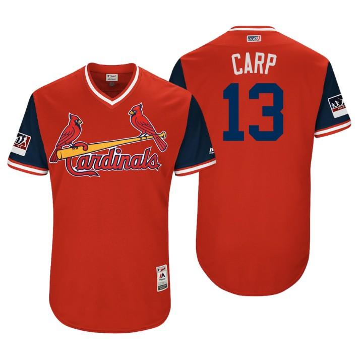 Men's St. Louis Cardinals Authentic Matt Carpenter #13 Red 2018 LLWS Players Weekend Carp Jersey