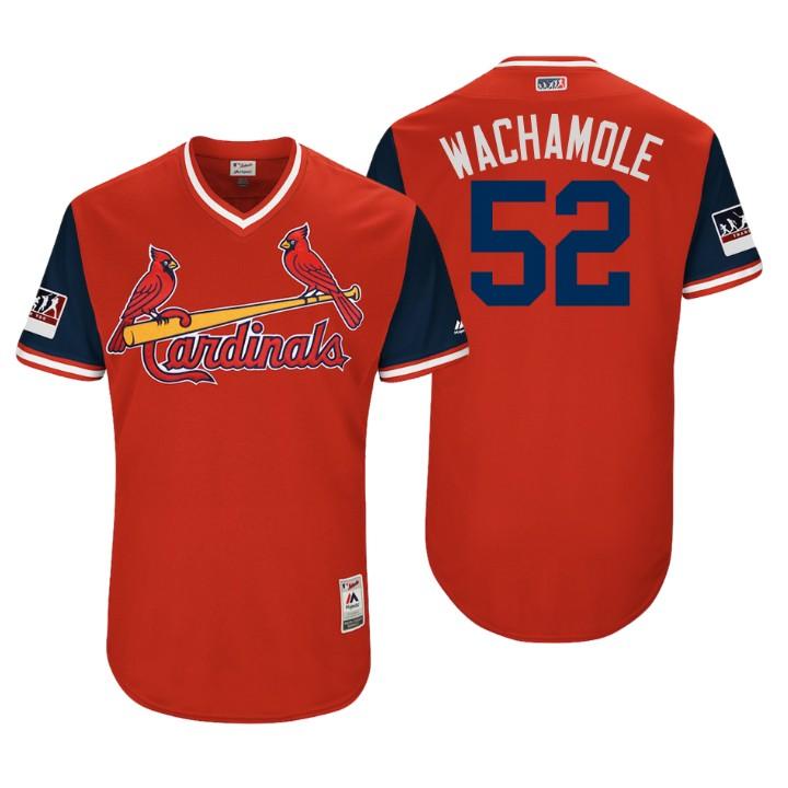 Men's St. Louis Cardinals Authentic Michael Wacha #52 Red 2018 LLWS Players Weekend Wachamole Jersey