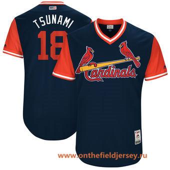 Men's St. Louis Cardinals Carlos Martinez -Tsunami- Majestic Navy 2017 Little League World Series Players Weekend Stitched Nickname Jersey