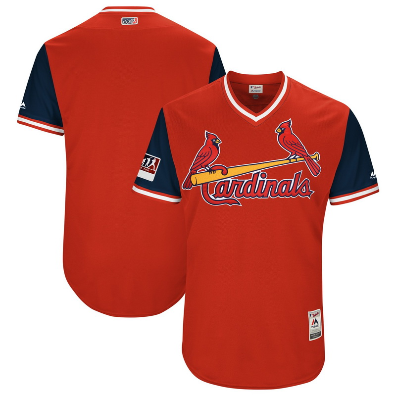 Men's St. Louis Cardinals Majestic Red-Navy 2018 Players' Weekend Authentic Team Jersey