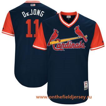 Men's St. Louis Cardinals Paul Dejong -DeJong- Majestic Navy 2017 Little League World Series Players Weekend Stitched Nickname Jersey
