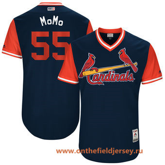 Men's St. Louis Cardinals Stephen Piscotty -MoMo- Majestic Navy 2017 Little League World Series Players Weekend Stitched Nickname Jersey