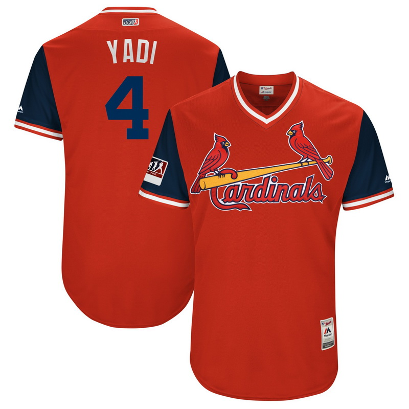 Men's St. Louis Cardinals Yadier Molina Yadi Majestic Red-Navy 2018 Players' Weekend Authentic Jersey
