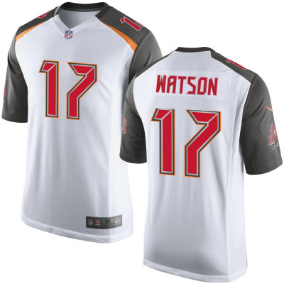 Men's Tampa Bay Buccaneers #17 Justin Watson White Road Stitched NFL Nike Game Jersey