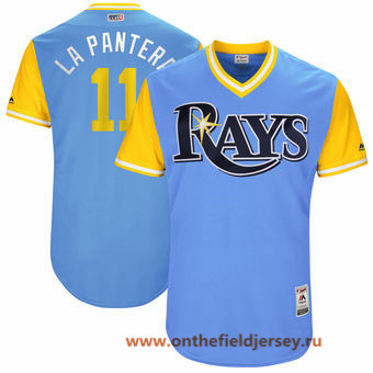 Men's Tampa Bay Rays Adeiny Hechavarria -La Pantera- Majestic Light Blue 2017 Little League World Series Players Weekend Stitched Nickname Jersey