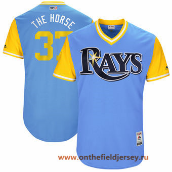 Men's Tampa Bay Rays Alex Colome -The Horse- Majestic Light Blue 2017 Little League World Series Players Weekend Stitched Nickname Jersey