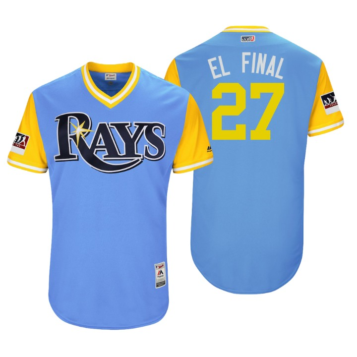 Men's Tampa Bay Rays Authentic Carlos Gomez #27 Light Blue 2018 LLWS Players Weekend El Final Jersey