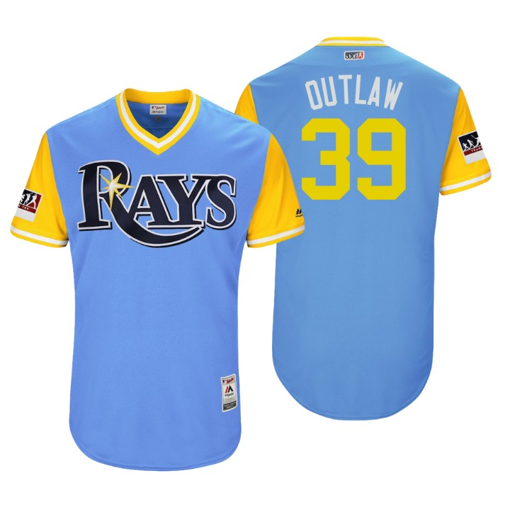 Men's Tampa Bay Rays Authentic Kevin Kiermaier #39 Light Blue 2018 LLWS Players Weekend Outlaw Jersey