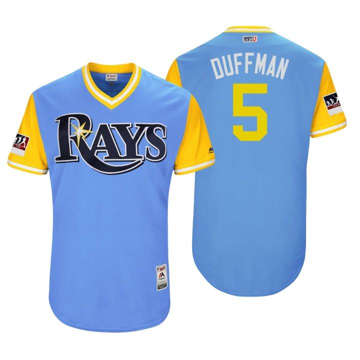 Men's Tampa Bay Rays Authentic Matt Duffy #5 Light Blue 2018 LLWS Players Weekend Duffman Jersey