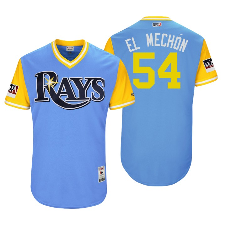 Men's Tampa Bay Rays Authentic Sergio Romo #54 Light Blue 2018 LLWS Players Weekend El Mechon Jersey