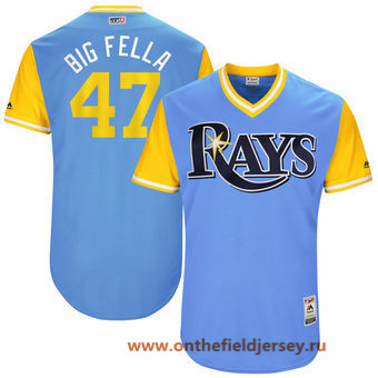 Men's Tampa Bay Rays Chase Whitley -Big Fella- Majestic Light Blue 2017 Little League World Series Players Weekend Stitched Nickname Jersey