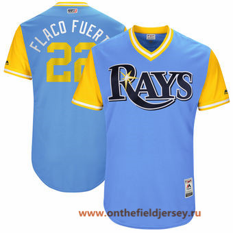 Men's Tampa Bay Rays Chris Archer -Flaco Fuerte- Majestic Light Blue 2017 Little League World Series Players Weekend Stitched Nickname Jersey