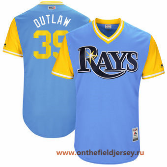 Men's Tampa Bay Rays Kevin Kiermaier -Outlaw- Majestic Light Blue 2017 Little League World Series Players Weekend Stitched Nickname Jersey