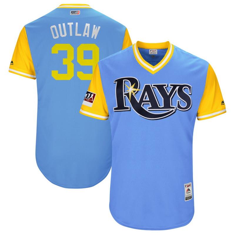 Men's Tampa Bay Rays Kevin Kiermaier Outlaw Majestic Light Blue-Yellow 2018 Players' Weekend Authentic Jersey
