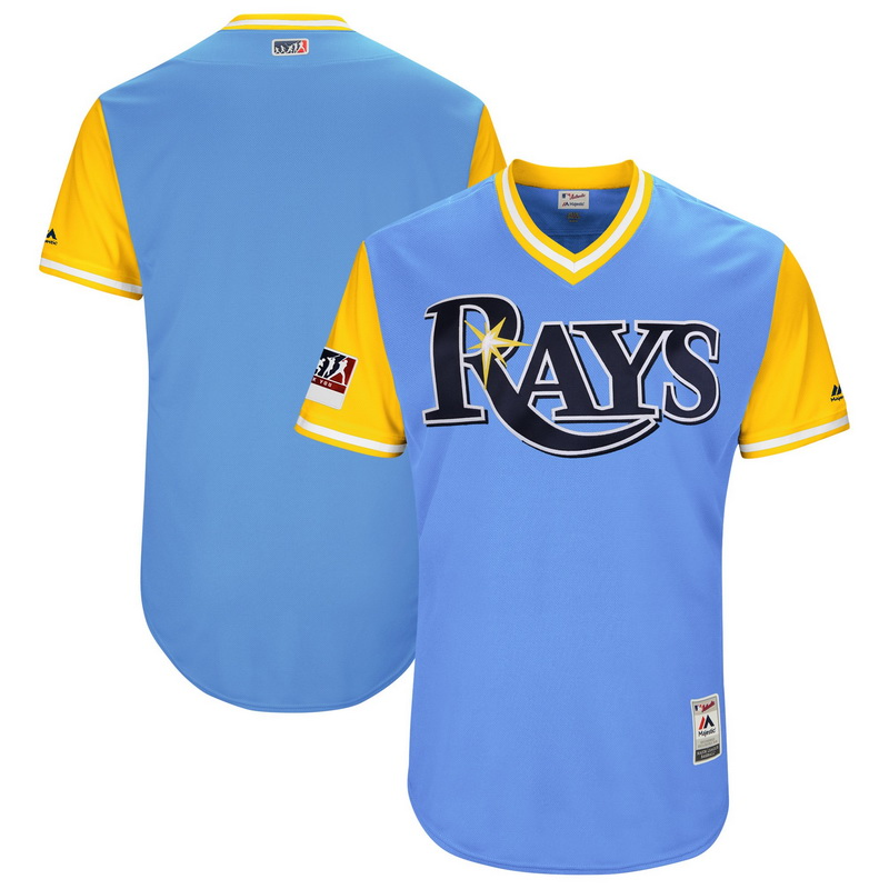 Men's Tampa Bay Rays Majestic Light Blue-Yellow 2018 Players' Weekend Authentic Team Jersey