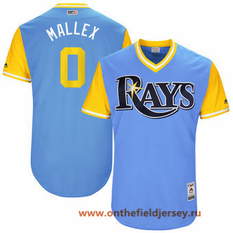 Men's Tampa Bay Rays Mallex Smith -Mallex- Majestic Light Blue 2017 Little League World Series Players Weekend Stitched Nickname Jersey