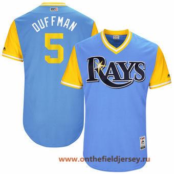 Men's Tampa Bay Rays Matt Duffy -Duffman- Majestic Light Blue 2017 Little League World Series Players Weekend Stitched Nickname Jersey