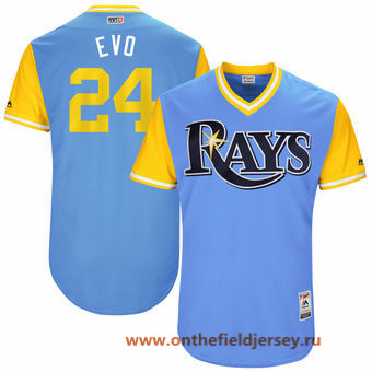 Men's Tampa Bay Rays Nathan Eovaldi -Evo- Majestic Light Blue 2017 Little League World Series Players Weekend Stitched Nickname Jersey