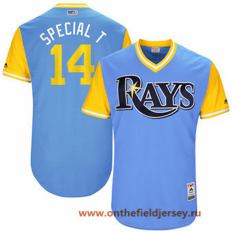 Men's Tampa Bay Rays Trevor Plouffe -Special T- Majestic Light Blue 2017 Little League World Series Players Weekend Stitched Nickname Jersey