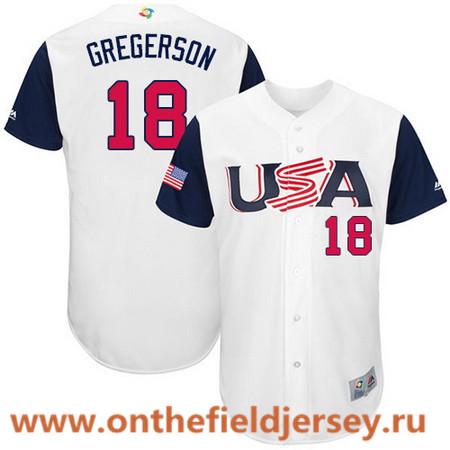 Men's Team USA Baseball Majestic #18 Luke Gregerson White 2017 World Baseball Classic Stitched Authentic Jersey