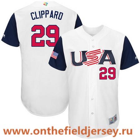 Men's Team USA Baseball Majestic #29 Tyler Clippard White 2017 World Baseball Classic Stitched Authentic Jersey